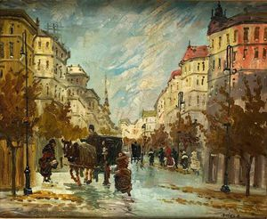 Antal Berkes - Street Scene With Carriages