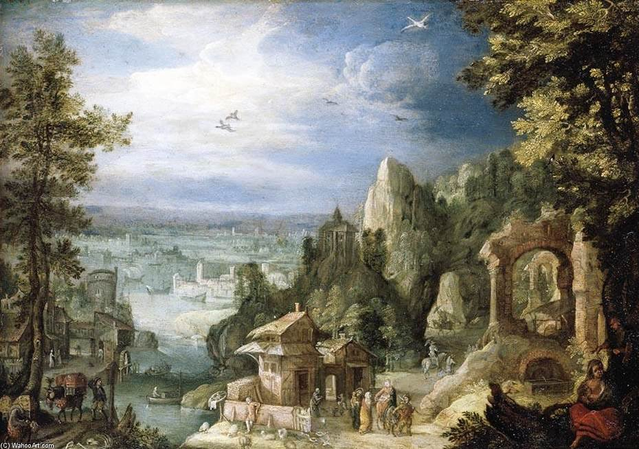 Extensive Landscape With The Rest On The Flight Into Egypt by Anthonie Mirou (1578-1621, France) | Oil Painting | WahooArt.com