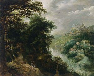 Anthonie Mirou - Wooded River Landscape