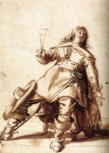 Palamedesz Anthonie (Stevaerts) - Seated Cavalier With A Sword And A Raised Glass