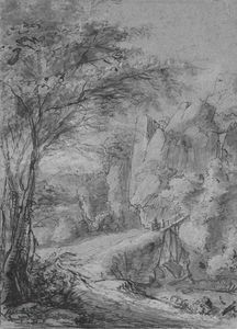 Anthonie Waterloo - A Rocky Landscape With Figures Crossing A Bridge