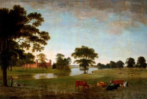 Anthony Devis - View In Osterley Park With Two Children