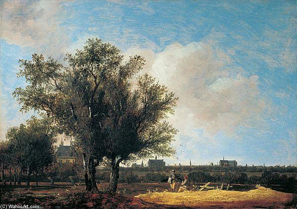 A View Of Leiden With Figures Resting In The Foreground by Anthony Jansz Van Der Croos (1606-1662) | Paintings Reproductions Anthony Jansz Van Der Croos | WahooArt.com