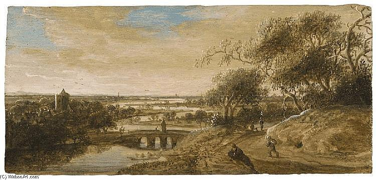 A View Of Leiden With Figures Resting In The Foreground_2 by Anthony Jansz Van Der Croos (1606-1662) | Museum Art Reproductions Anthony Jansz Van Der Croos | WahooArt.com