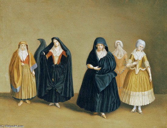Ladies Of The Knights Of Malta With Their Maid Servant by Antoine De Favray (1706-1798, France)
