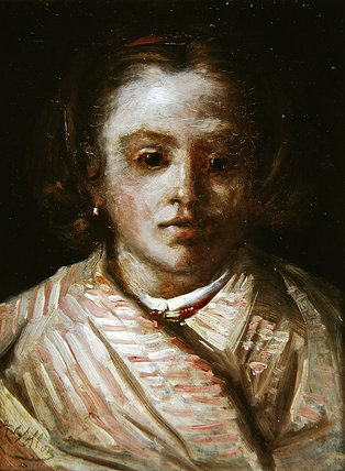 Portrait Of A Child by Antoine Vollon (1833-1900, France)
