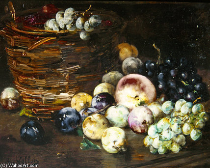 Still Life Of A Basket With Fruits by Antoine Vollon (1833-1900, France)