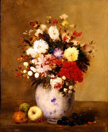 Still Life With Flowers And Fruit by Antoine Vollon (1833-1900, France)