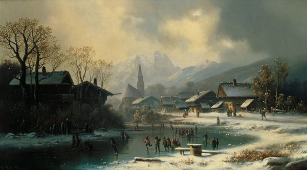 Children Skating On A Frozen River by Anton Doll (1826-1887, Germany)