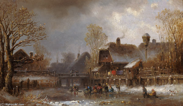 Ice Pleasure by Anton Doll (1826-1887, Germany) | Oil Painting | WahooArt.com