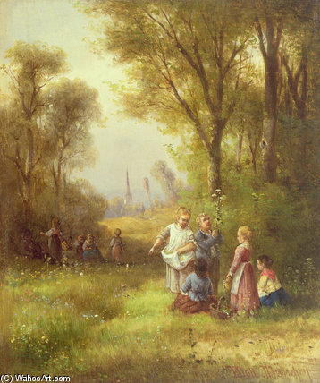 Playing In The Woods by Anton Doll (1826-1887, Germany)