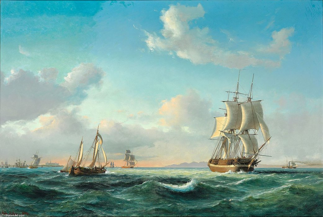 The sailing ship 'Johanna' and other vessels in Sundet off Kronborg Castle by Anton Melbye (Daniel Herman Anton Melbye) (1818-1875)