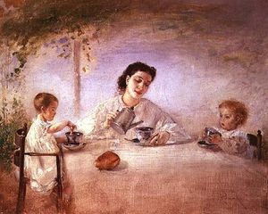 Anton Romako - The Artist's Wife Sophie With Their Daughters