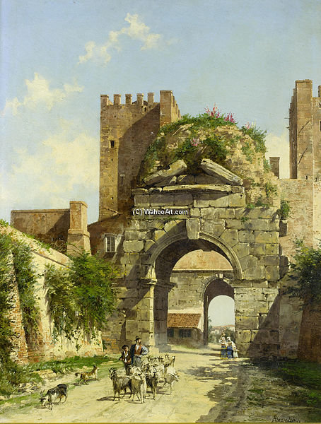 The Arch Of Drusus, Rome by Antonietta Brandeis (1849-1926, Czech Republic) | Museum Quality Reproductions | WahooArt.com