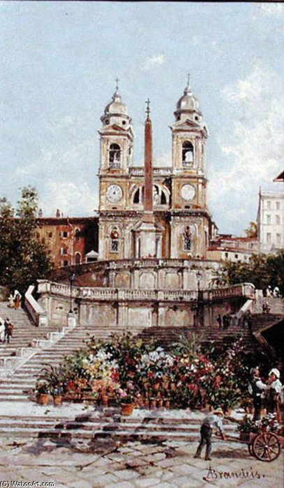Order Oil Painting : The Flower Market Before The Spanish Steps, Rome by Antonietta Brandeis (1849-1926, Czech Republic) | WahooArt.com