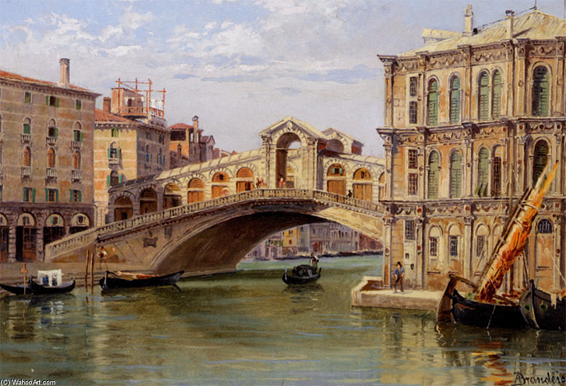 The Rialto Bridge by Antonietta Brandeis (1849-1926, Czech Republic) | Art Reproduction | WahooArt.com