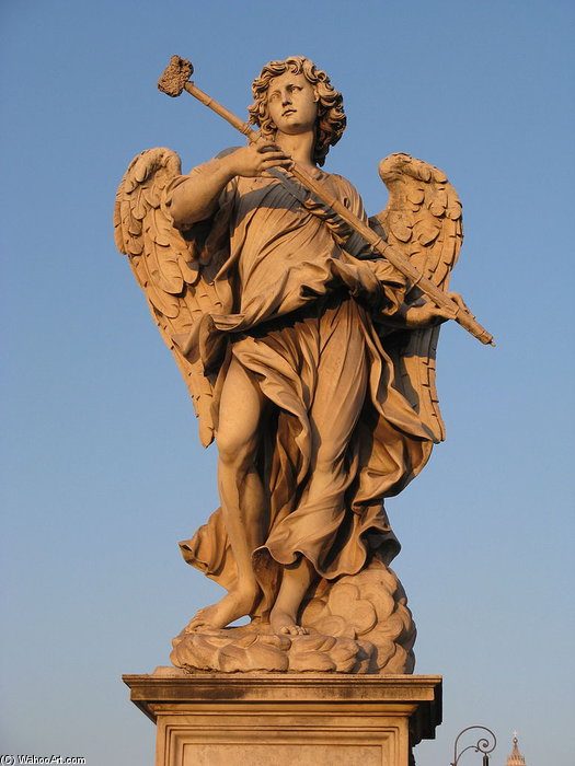 Angel Bearing A Sponge At Ponte Sant Angelo by Antonio Giorgetti (1635-1669, Italy) | WahooArt.com
