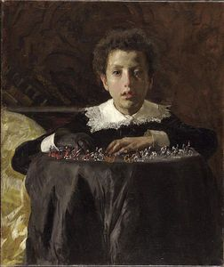 Antonio Mancini - Boy With Toy Soldiers