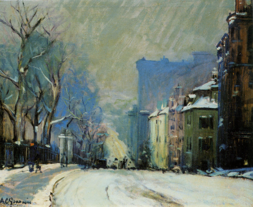 Beacon Street In Winter by Arthur Clifton Goodwin (1864-1929, United States) | Oil Painting | WahooArt.com