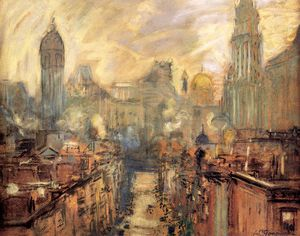 Arthur C. Goodwin - Lower New York From Manhattan Bridge
