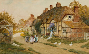 Arthur Claude Strachan - Children Playing Outside A Cottage In A Village