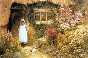 Arthur Claude Strachan - Girl With Dog Outside Cottage