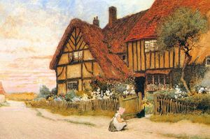 Arthur Claude Strachan - Girl With Kitten Outside A House