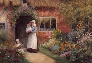 Arthur Claude Strachan - Mother And Children Outside A Cottage