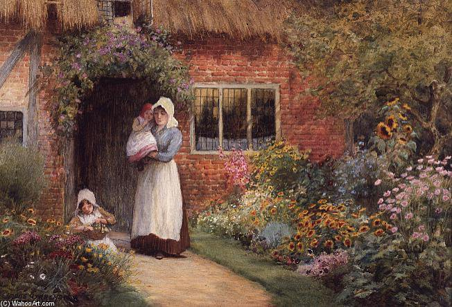 Mother And Children Outside A Cottage by Arthur Claude Strachan (1865-1938, United Kingdom) | Museum Quality Copies Arthur Claude Strachan | WahooArt.com