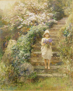 Arthur Hopkins - A Young Girl Carrying Violets