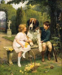 Arthur John Elsley - Children With A St Bernard