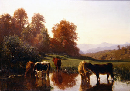 Cattle Watering by Auguste François Bonheur (1824-1884, France) | Oil Painting | WahooArt.com
