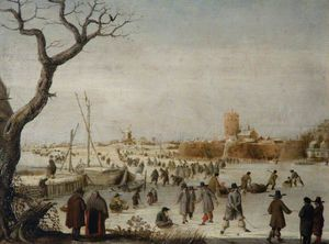 Barend Avercamp (Barend Petersz) - Winter Landscape With Skaters On A River