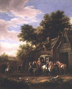 Barend Gael Or Gaal - Landscape With Travellers Beside A Cottage (panel)