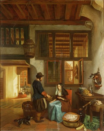 A Dutch Interior by Bartholomeus Johannes Van Hove (1790-1880, Netherlands) | Famous Paintings Reproductions | WahooArt.com
