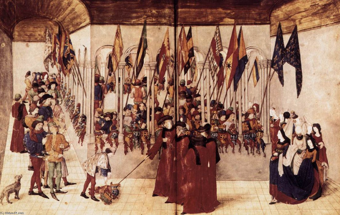Order Art Reproduction : Presentation Of Flags And Helms by Barthélemy D'eyck (1420-1475, Netherlands) | WahooArt.com