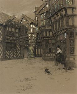 Beatrice Parsons - A Servant And Her Dogs Waiting Outside Moreton Old Hall, Cheshire