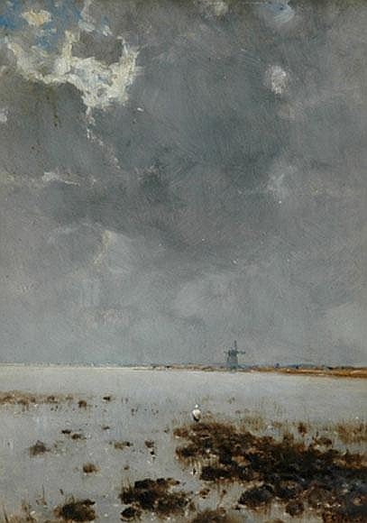 Approaching Storm Over A Lake Oil On Panel by Bela Spanyi (1852-1914)