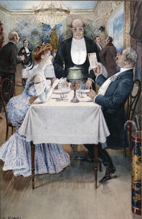 At The Restaurant by Benjamin Eugene Fichel (1826-1895, France) | WahooArt.com