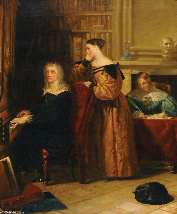 Milton And His Daughters At The Organ by Benjamin Robert Haydon (1786-1846, United Kingdom) | Painting Copy | WahooArt.com