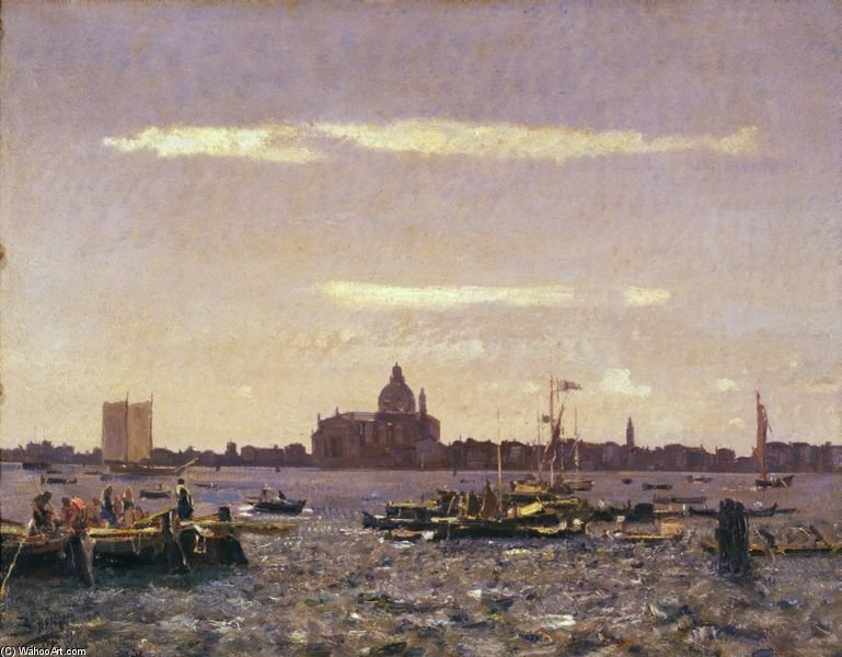 September In Venice by Beppe Ciardi (1875-1932, Italy) | Art Reproductions Beppe Ciardi | WahooArt.com