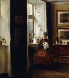 Carl Vilhelm Holsoe - A Young Girl Sewing