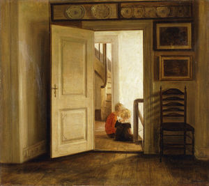 Carl Vilhelm Holsoe - Children In An Interior