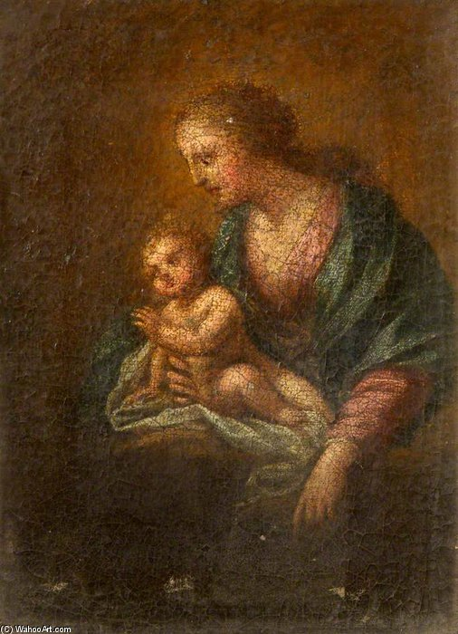 Woman And Child by Carlo Cignani (1628-1719, Italy)
