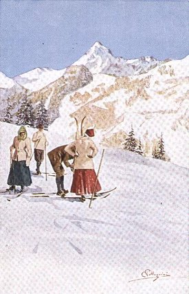 Skiers Pausing On The Slopes by Carlo Pellegrini (1839-1889, Italy)