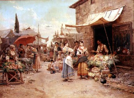 The Marketplace by Cesare Augusto Detti | Museum Quality Reproductions | WahooArt.com