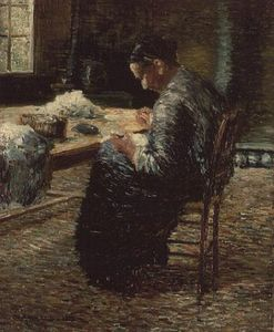 Order Museum Quality Reproductions : Portrait Of The Artist`s Mother Sewing by Charles Angrand (1854-1926, France) | WahooArt.com