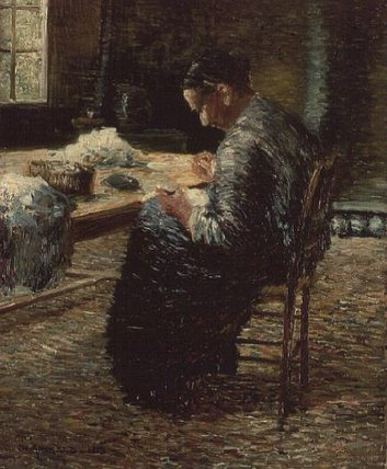 Portrait Of The Artist`s Mother Sewing by Charles Angrand (1854-1926, France) | Museum Quality Reproductions | WahooArt.com
