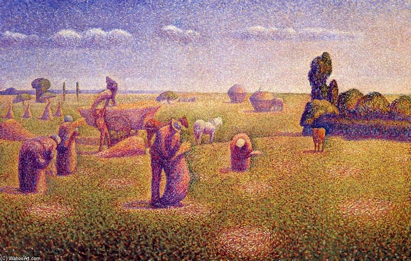 Order Famous Paintings Reproductions : The Harvesters by Charles Angrand (1854-1926, France) | WahooArt.com