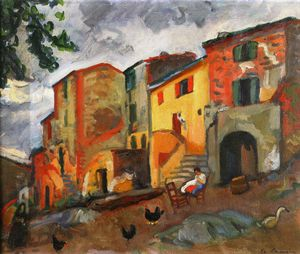 Charles Camoin - Village Street, Collioure